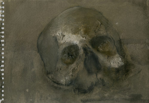 Crâne - techniques mixtes sur papier 35x27cm 2015