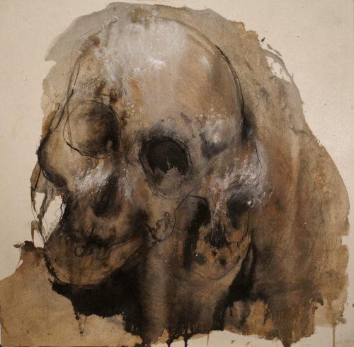Crâne - techniques mixtes sur papier 40x40cm 2013