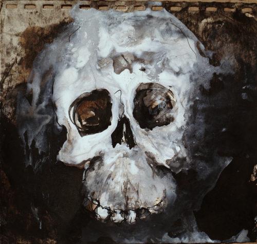 Crâne - techniques mixtes sur papier 17x16cm 2015